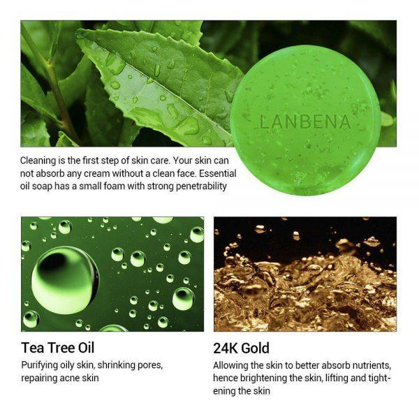 صابون دست ساز طلای ۲۴ لانبنا مرطوب کننده چای سبز